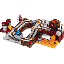 402PCS New My World Building Blocks Sets Hell high Speed Track Train Compatible LegoINGLYS Minecrafter Technic Toys for Children