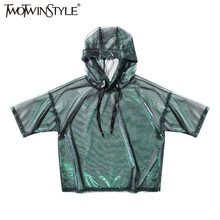 TWOTWINSTYLE 2017 Summer Women See Through Mesh T Shirt Hoodies Tops Short Sleeve Tee Clothes Korean Fashion Casual Big Sizes