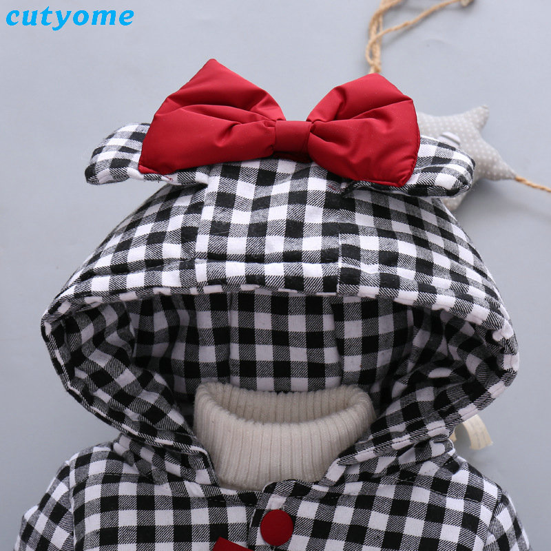 Cutyome Newborn Baby Girls Outwear Coats Hooded Plaid With Bow Cotton Winter Jackets Children Infant Padded Thick Jacket Clothes (3)