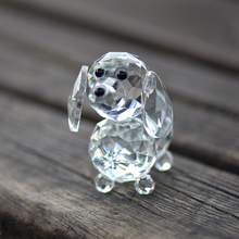 Home Decoration Accessories Clear Glass Crystal Figurines Dog Miniature Garden Decorations Christmas Craft Wedding Gift