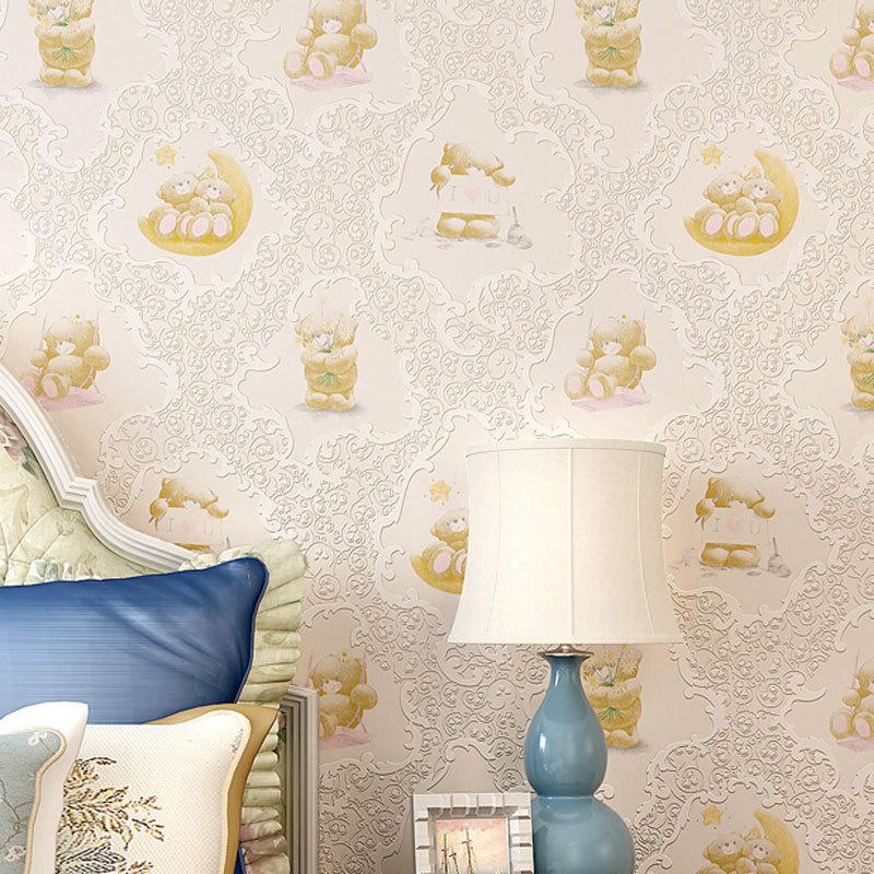 beibehang papel parede Cute Cartoon Bear Design Wallpaper roll Kids Room 3D Wall Papers Bedroom Decal Mural papel de parede 3d<br>