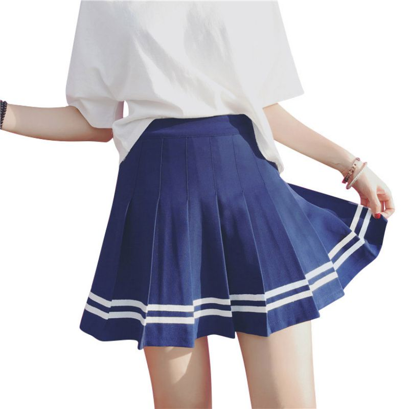 Women AA style Pleated Bust Skirt Mini Casual High waist vintage skirts blue and white cute short skirts S M L(China)