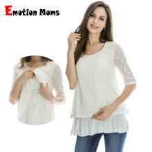 Emotion Moms Lace Maternity clothes Nursing breastfeeding Tops for Pregnant Women T-shirt spring Maternity Tops feeding clothing(Hong Kong)