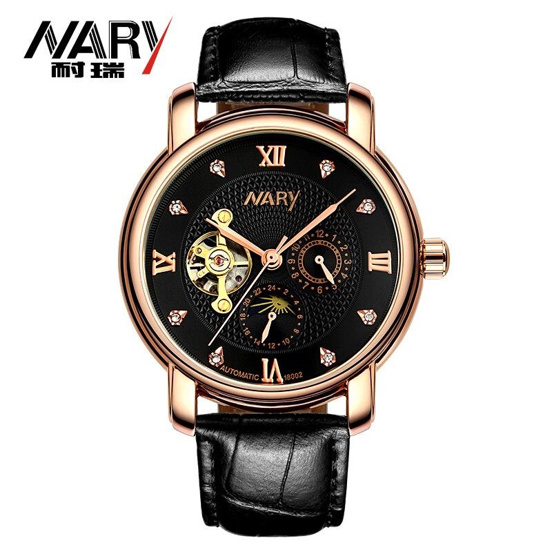Nary  Automatic Self-Wind Mechanical Men Watch 3ATM Waterproof Sapphire Leather Mens Business Wrist watch relogio masculino<br><br>Aliexpress