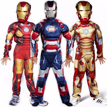 Boys Child Avengers Iron Man God color mask Costume Child Halloween Costume Boys Marvel Movie Superhero Cosplay Clothing(China)
