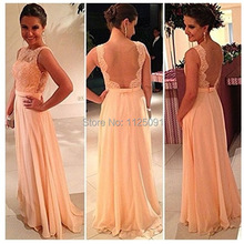 2017 All Fast Shipping !High quality nude back chiffon lace long prom dress peach color bridesmaid dress custom made