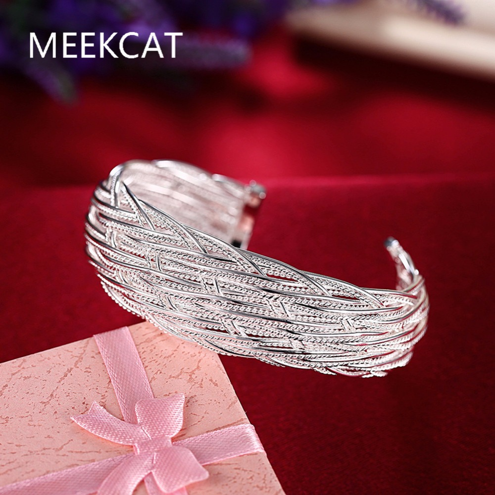 Free Shipping 2017 Lovely 925 stamped silver plated bangles Big Web women bracelet bangles Pulseiras de Prata prices in euros(China (Mainland))