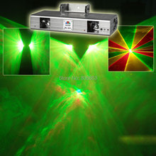Double 2Lens RGY Laser Lines Scan Beam Full Color DMX512 DJ Dance Bar Xmas Party Club Disco Effect Stage Lighting Light Show x1