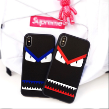 fashion car demon case iphone 6 6plus 6s plus 7 7plus 8 8plus X cases Funny eyes trend Soft silicone phone cover coque capa