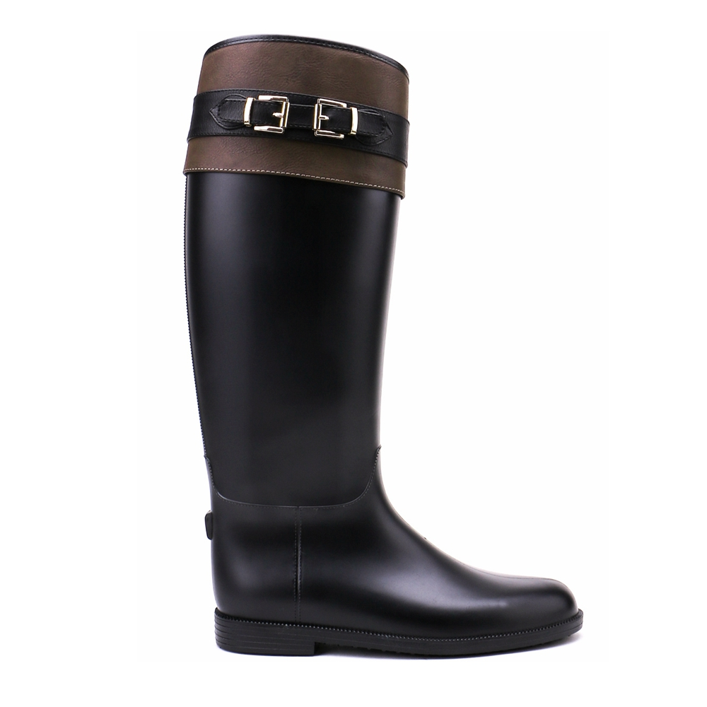 TONGPU Womens Zipper Closure Decorative Golden Buckle and Belt Black and Deep Brown Knee-High Waterproof PVC Rain Boots<br>