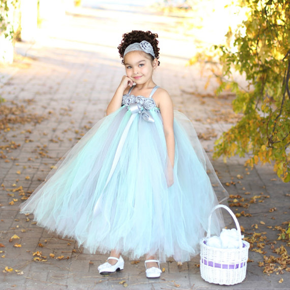 New Design Vintage Grey Mint Green Flower Girls Dresses With Lace Flower Headband Chiffon Tulle Girls Dress Wedding Party<br>