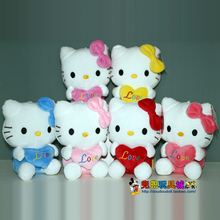 lovely hello kitty plush toy hug love heart kitty about 20cm, one lot/ 6 pieces w5506