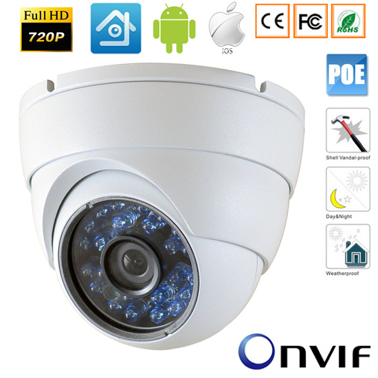 CCTV Mini 720P 1.0MP Waterproof Outdoor Security Network IP 48V POE Camera  IR Cut Night Vision Onvif 2.8mm Lens<br>