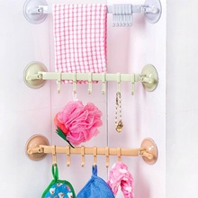 1PC Multifunctional Adjustable Plastic 6 Hooks Holder Vacuum Sucker Towel Utensil Rack Bathroom Kitchen Hanging Shelves