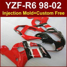 Glossy red  fairing parts for YAMAHA fairings kit YZF  R6 98-02 YZF R6 1998 1999 2000 2001 2002 custom fairing 8R23 Injecion ABS
