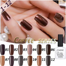 CNDSE 12 Colour New Coffee Chocolate Series Gel Polish Nail Gel Soak Off UV Gel Polish Super Gel Nail Polish(China)