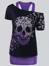 Gamiss Plus Size 5XL Butterfly Skull T-shirt Top Female Skew Collar Short Sleeve T Shirt Women 2017 Fashion Casual Top Tees