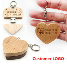 Hot Sale Custom Logo Wooden Heart Memory Stick Pen Drive 4gb 8gb 16gb 32gb Company Logo customized Wedding Gift photography gift