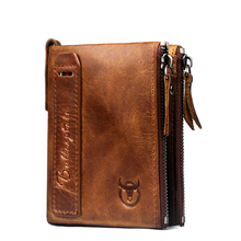 Fashion brand retro Genuine Leather men wallet vertical section leisure folding multi-function license small money wallet purse()