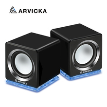 ARVICKA USB 2.0 Notebook Speaker Wired Mini Laptop Speaker LED PC Speakers for Computer Laptop Phone Tablet MP3 6W Powerful