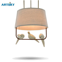 American Resin Bird Pendant Lights Fixture  with Fabric Lampshade for Dining Room Kitchen Restaurant Pendant Hanging Lamp