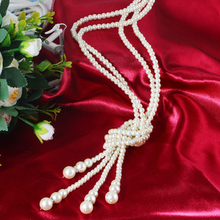 Famous Magazine Fashion Imitation Pearl Necklace Women Jewelry Statement Choker Necklaces Long Full Simualted Pearl Pendants(China)