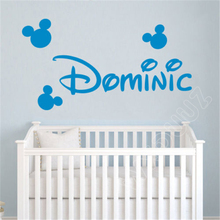 WXDUUZ Cartoon Mickey Mouse Custom Name kids nursery decal quote Home Decor Vinyl Wall Sticker bedroom Poster Decor P01