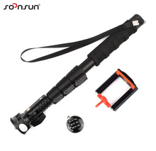 SOONSUN Telescopic Aluminum Extendable Monopod Pole+Phone Clip Holder+Tripod Mount Adapter for GoPro Hero 2 3 3+ 5 6 Cell Phone(China)