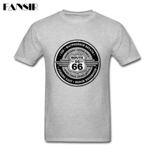 Great Tee Shirt Men Boy Short Sleeve Crewneck Cotton America Highway The Mother Road Route 66 Teenage Brand Clothing Men Tshirts(China)
