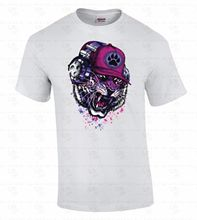 Cheap Sale 100% Cotton Short O-Neck Fashion 2017 Mens Tiger With Headphones Party Dj Rave Urban Hip-Hop Neon Animal Tee Shirts(China)