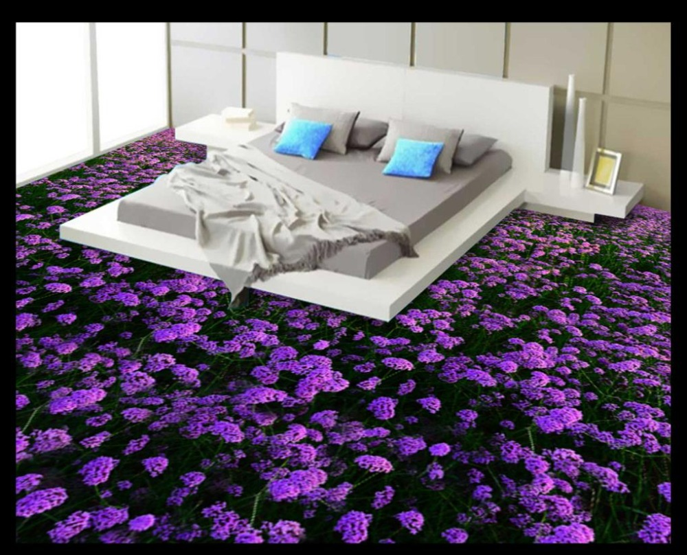 Modern Romantic 3D Floor lavender Wallpaper self-adhesive waterproof 3D pvc Floor Photo 3D Floor Painting Wallpaper<br>