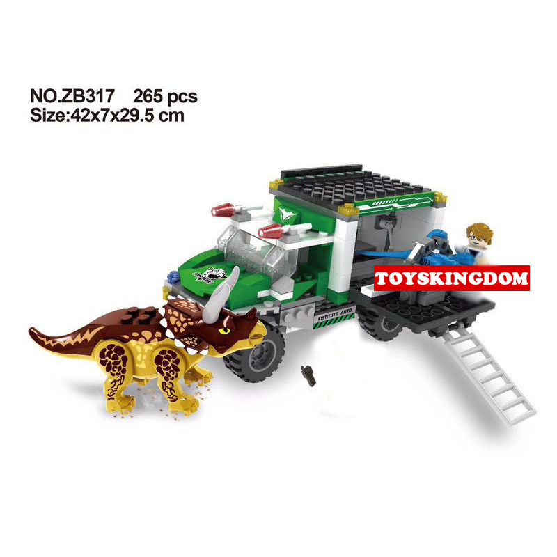 Hot movie Jurassic dinosaur world Chasing the Triceratops building block figures Pickup truck bricks toys for children gifts<br>