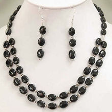 2014 new fashion charming free shipping Natural Black Onyx Necklace +Earring Set BV62