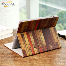 KISSCASE Leather Flip Cases For i Pad mini 1 2 3 i Pad 2 3 4 Smart Flip Shockproof Bag For i Pad Air 1 2 Stand Wooden Skin Case