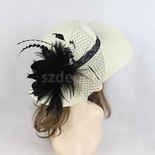 Fashion Women Floral Feather Fascinator Hat Derby Race Tea Party Fedoras Formal Hair Accessory