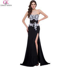 Grace Karin Evening Dresses Long 2017 Sexy Slit Vestidos Black White Women Formal Evening Gowns Maxi Long Party Prom Dress 7519(China)