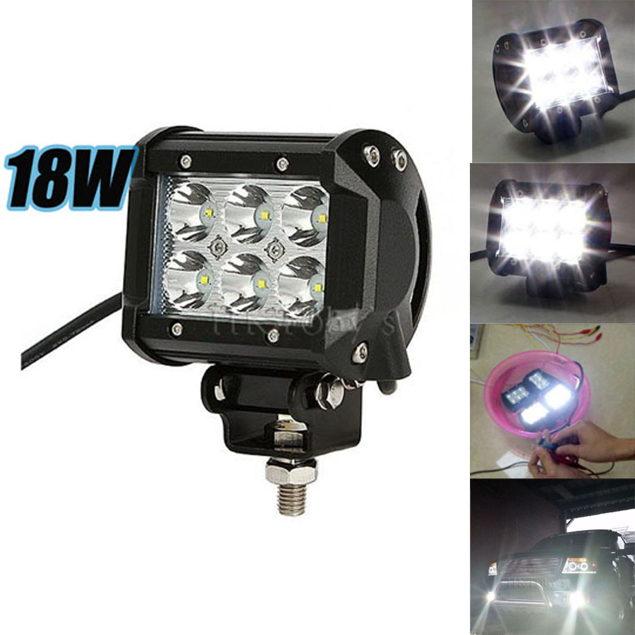 Flood spot 4Inch 18W LED Work Light Bar for Indicators Motorcycle Driving Offroad Boat Car Tractor Truck 4x4 SUV ATV<br><br>Aliexpress