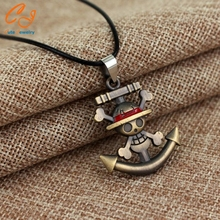 Anime One Piece Necklace Straw hat pirates group Logo Pendant Anchor skull Alloy Pendants Silver Rope Chain Men's Jewelry