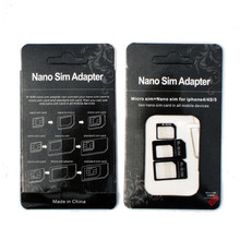 4 in 1 Nano Sim Card Adapter Converter to Micro + Standard Sim +Pin Opener For iPhone 7 6 6S Plus 5 5S SE For Samsang SmartPhone