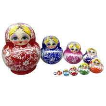 10PCS Wooden Matryoshka Doll Colorful Handmade Lovely Nesting Doll Hand Painted Craft Russian Matryoshka Doll for Kids Children