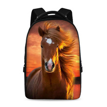 17 inch horses pattern fashion school backpack youth boys and girls laptop bag can store 15 inch computer
