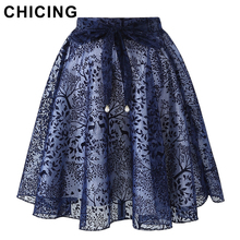CHICING Flocking Jacquard Midi Skirts Womens 2017 Summer Ties Bow Empire Ball Gown Pleated Elegant Organza Tulle Saia A1605028