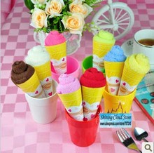 Free ship!1lot=30pc! Christmas Valentine wedding supplies / cotton cake towel gift / small monochrome ice cream cones(China)
