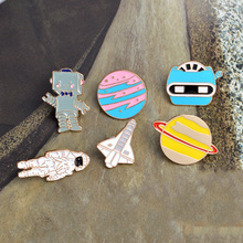 Enamel Space shuttle Universe Astronaut Robot X-men Planet Metal Pin button Broches de animais Cheap brooch Anime badges Jewelry(China)