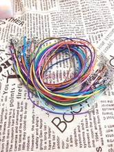 Hot Sale!50pcs 2mm Mix Color Wax Line With Lobster Clasp Lobster Clasp Necklace Cord 45cm Fit Charm Pendant Necklace DIY Making(China)