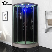 90cm White BLACK NO Steam Shower massage Corner Cabin room Cabin hydro cubicle Enclosure glass sliding doors walking-in saunaD09