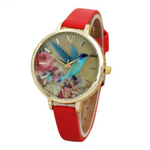 xiniu Fashion Dress Watches Women Blue Hummingbird PU Leather Band Analog Quartz Movement Wrist Watch relogio feminino Clock