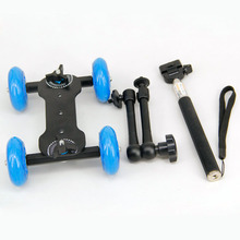 "11"" Articulating Magic Arm + Blue DSLR Skater Wheel Camera Truck Top Dolly Kit(China)"