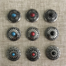 Wholesale Retail 9 Different styles Screw Head 3cm Round Fashion Metal Buttons For Classic Man Woman Belt and Bag Jewelry(China)
