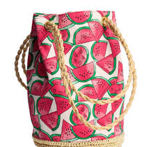 Fresh Fruit Watermelon Printing Tote Women Bucket Bag Canvas Shoulder Bag Straw Beach Bag Woven Hand bags bolsa feminina